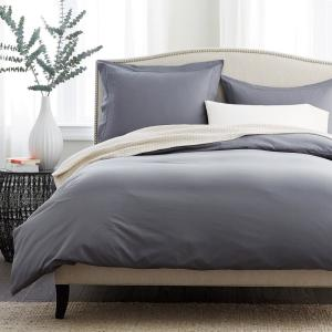 Pewter Solid Supima Cotton Percale Queen Duvet Cover