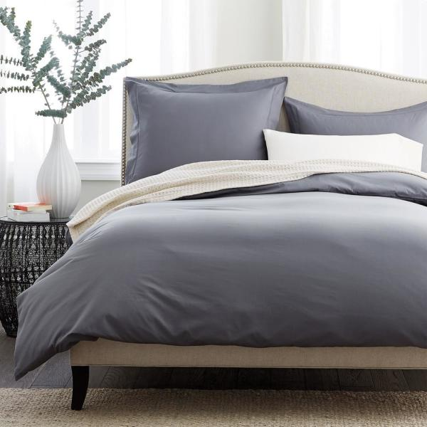 The Company Store Pewter Supima Percale Queen Duvet Cover