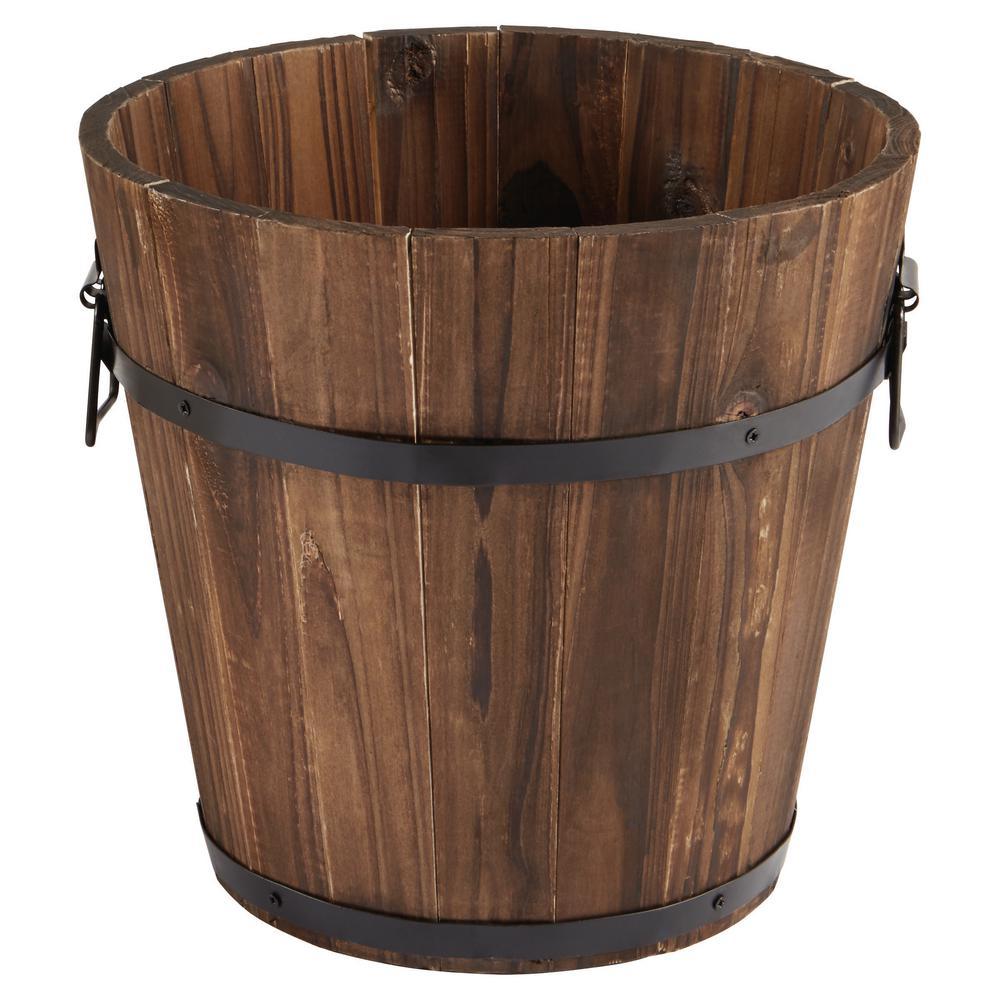 12 in. Dark Flame Wood Bucket