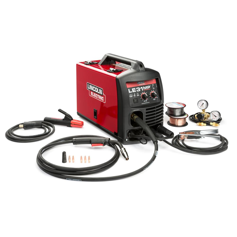LincolnElectric Lincoln Electric 140 Amp LE31MP Multi-Process Stick/MIG/TIG Welder with Magnum Pro 100L Gun, MIG and Flux-Cored Wire, Single Phase, 120V