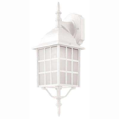 Cityscape 1-Light White Coach Lantern with Frosted Glass