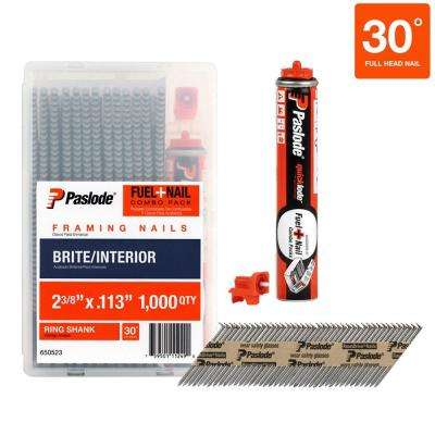2-3/8 in. x 0.113-Gauge Brite Ring Shank FUEL + NAIL Pack (1,000 Nails + Fuel Cell per Pack)