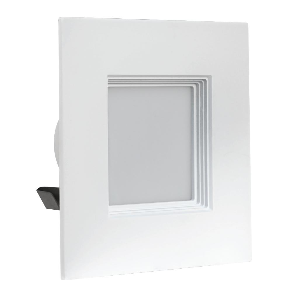 50W Equivalent Warm White (3000K) 4 in. Square White Trim Recessed