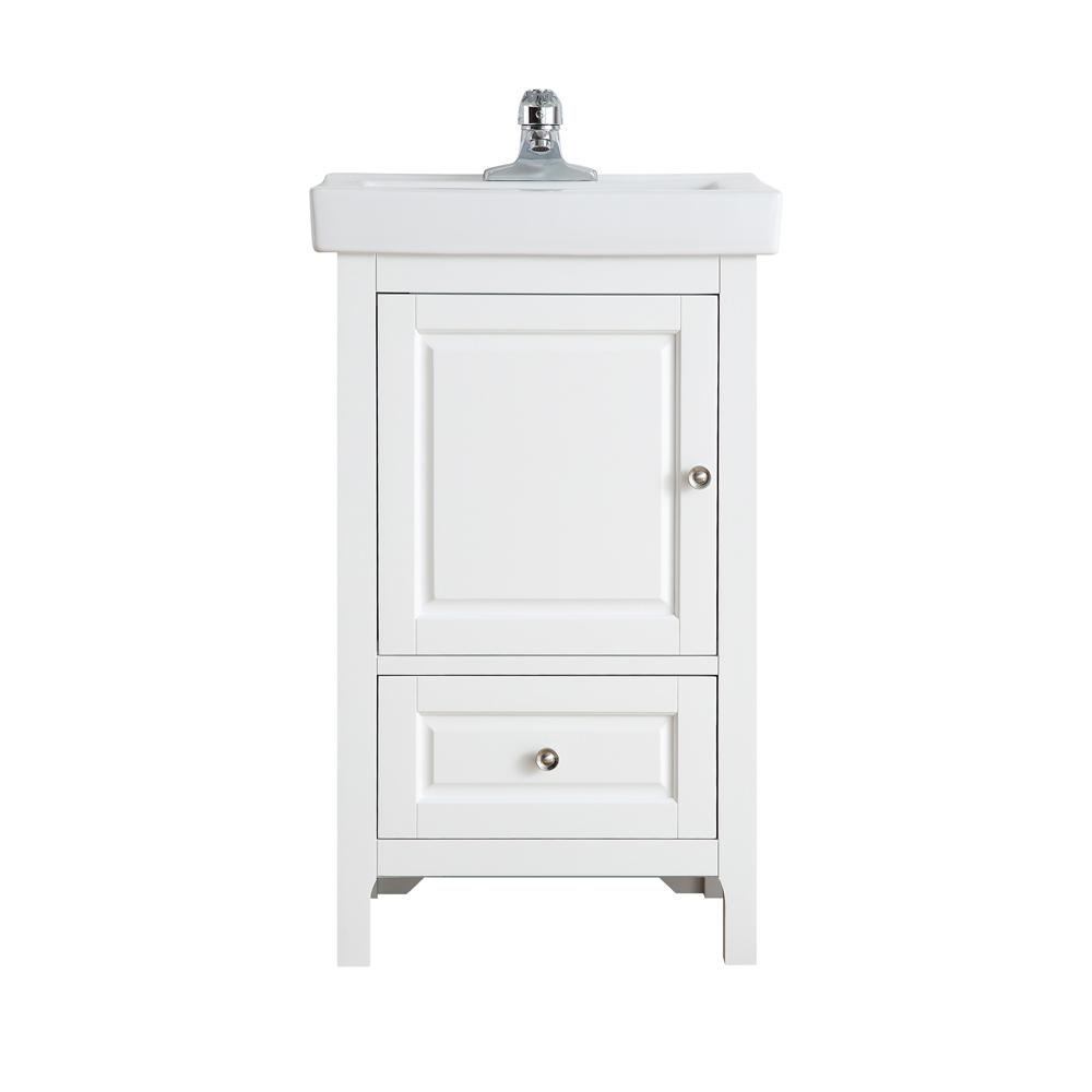 OVE Decors Balvin 20 in. W x 16.31 in. D Bath Vanity in Pure White with Ceramic Vanity Top in White with Integrated White Basin