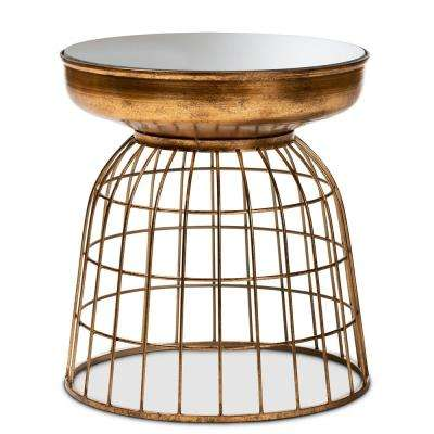 Andreia Antique Gold Cage Accent Table