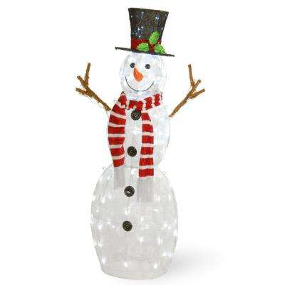 48 in. Snowflake Fabric Snowman with 120 Cool White LED Lights