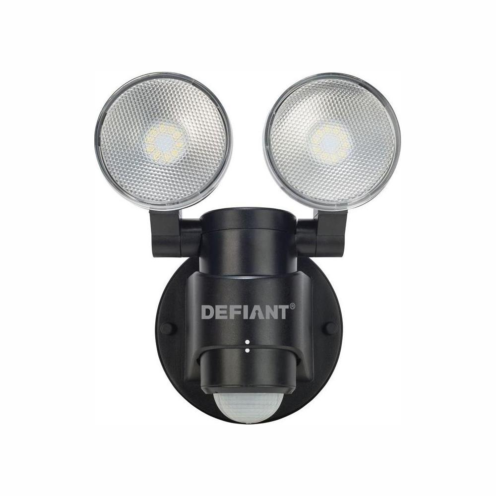 Defiant 180 Degree 2-Head Black Motion Activated Outdoor Flood Light