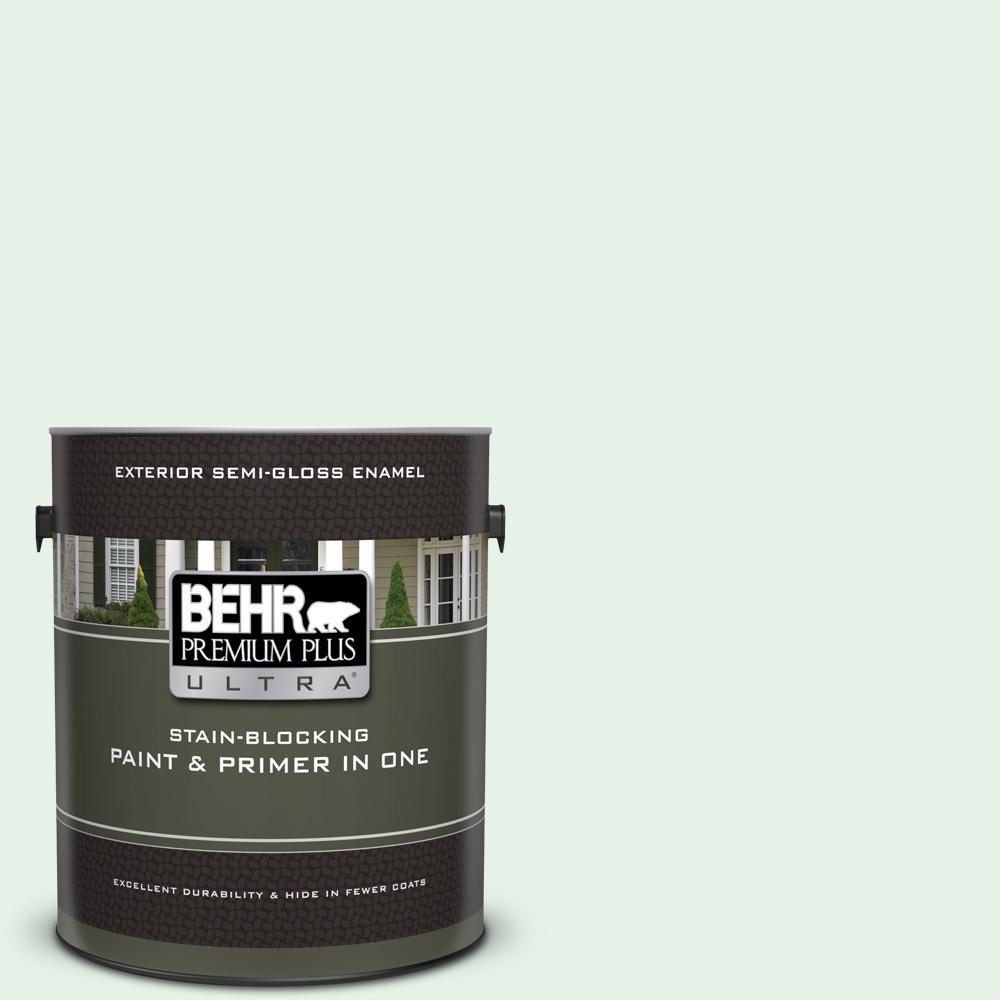 behr premium plus ultra 1 gal. #470c-1 mint fizz semi-gloss enamel exterior  paint and primer in one