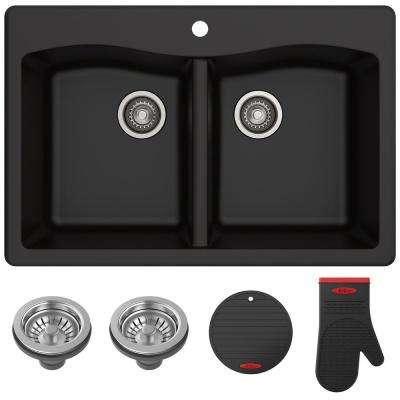 Forteza All-in-One Drop-In/Undermount Granite Composite 33 in. 1-Hole 50/50 Double Bowl Kitchen Sink in Black