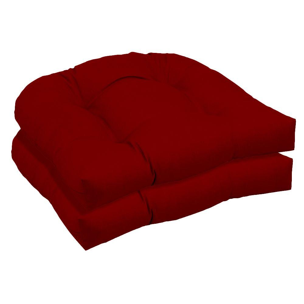 Arden Canvas Jockey Red Wicker Outdoor Tufted Seat Pad 2 Pack-DISCONTINUED
