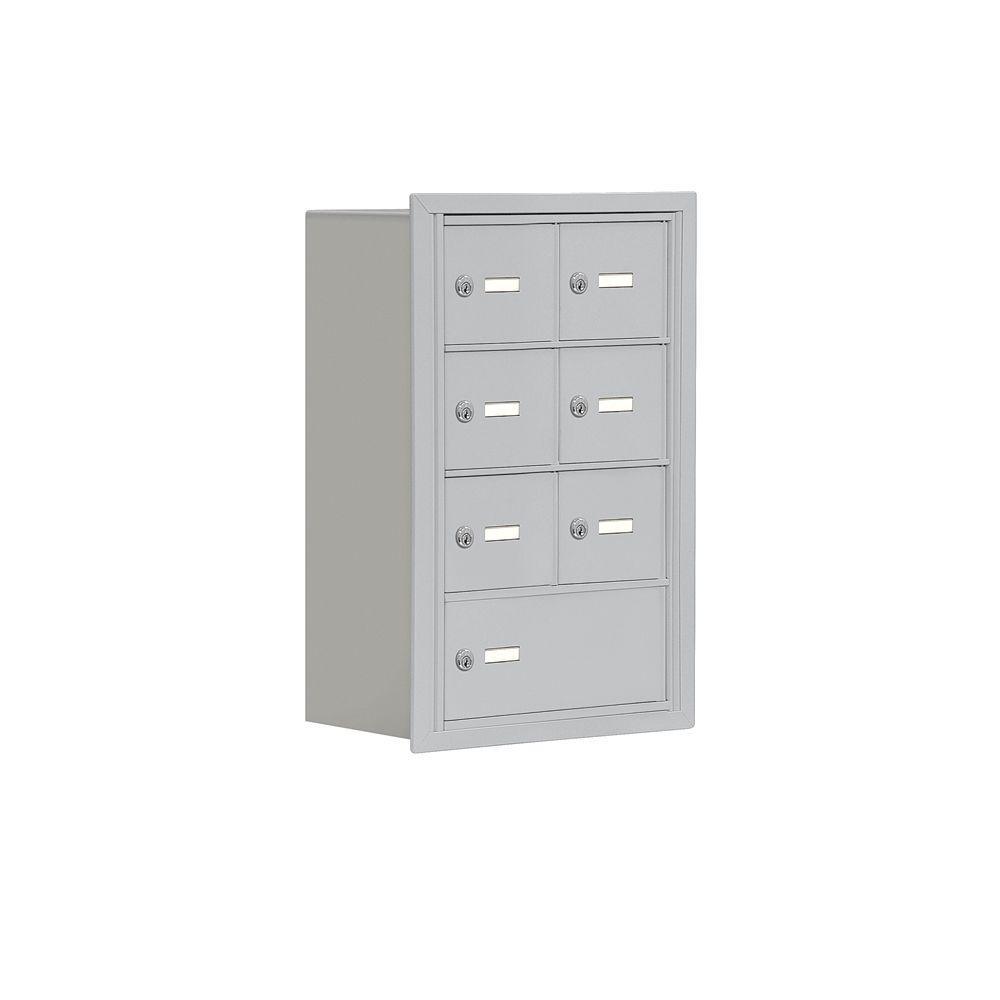 Salsbury Industries 19000 Series 17.5 in. W x 25.5 in. H x 8.75 in. D 6 A / 1 B Doors R-Mount Keyed Locks Cell Phone Locker in Aluminum