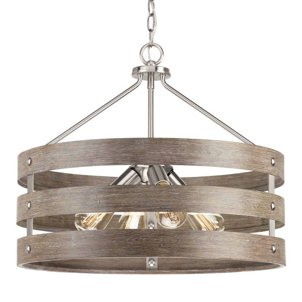 Progress Lighting Gulliver 22 In 4 Light Brushed Nickel Drum Pendant With Weathered Gray Wood Accents