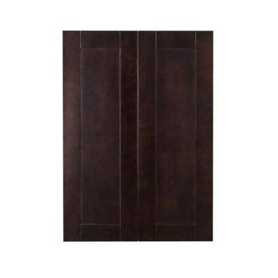 Anchester Assembled 24 in. x 42 in. x 12 in. Wall Cabinet with 2 Doors 3 Shelves in Dark Espresso