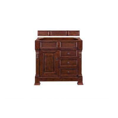 Brookfield 36 in. Single Vanity in Warm Cherry with Quartz Vanity Top in Grey Expo with White Basin