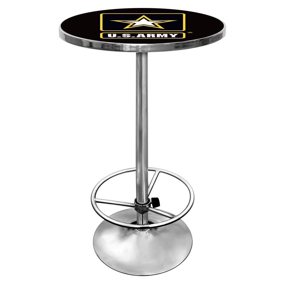 U.S. Army Chrome Pub/Bar Table, U.S. Army Black