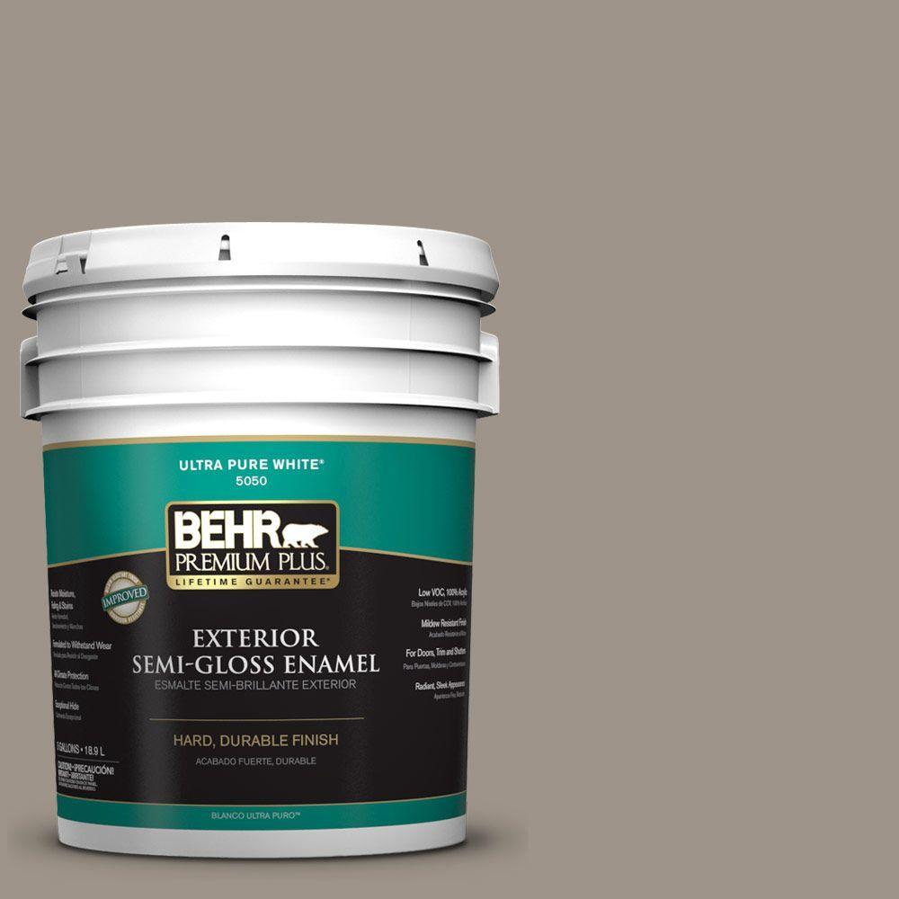 BEHR Premium Plus 5-gal. #HDC-CT-20 Greywood Semi-Gloss Enamel Exterior Paint
