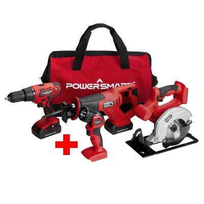20-Volt Cordless Combo Kit (4-Tool) with 2 Batteries 1.5 Ah and Charger