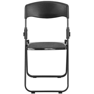 Heavy-Duty Black Plastic Seat Outdoor Safe Folding Chair