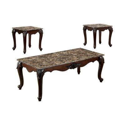 Colchester 3-Piece 48 in. Dark Cherry Large Rectangle Marble Coffee Table Set