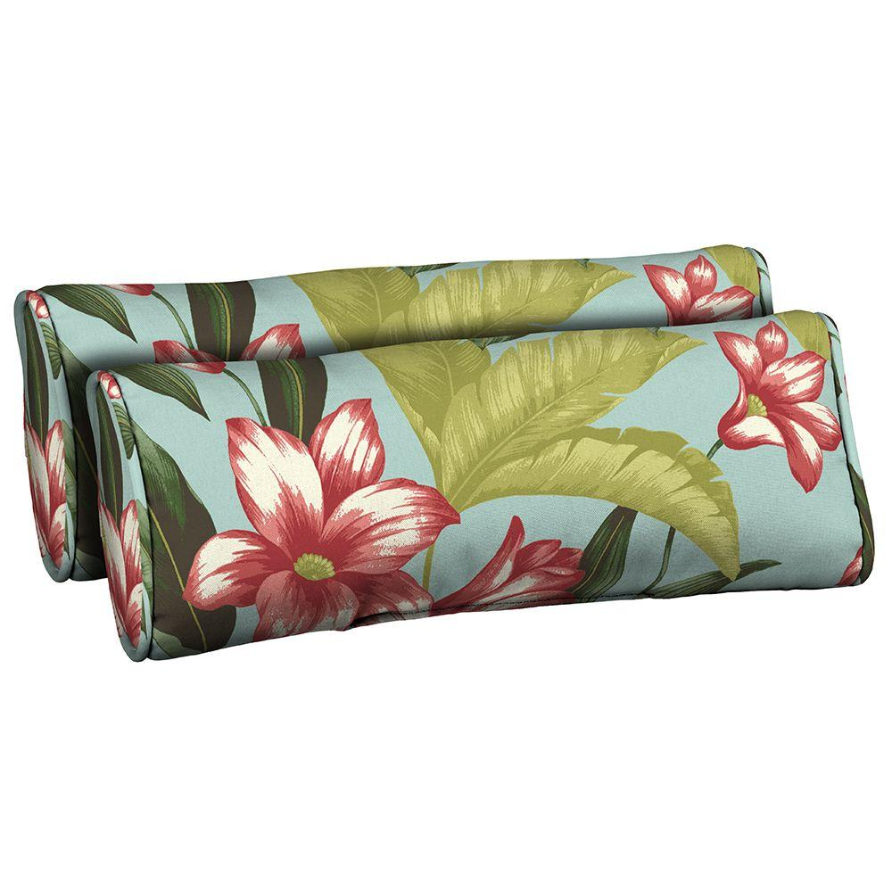 Hampton Bay Riviera Bloom Outdoor Bolster Pillow (2-Pack)-DISCONTINUED