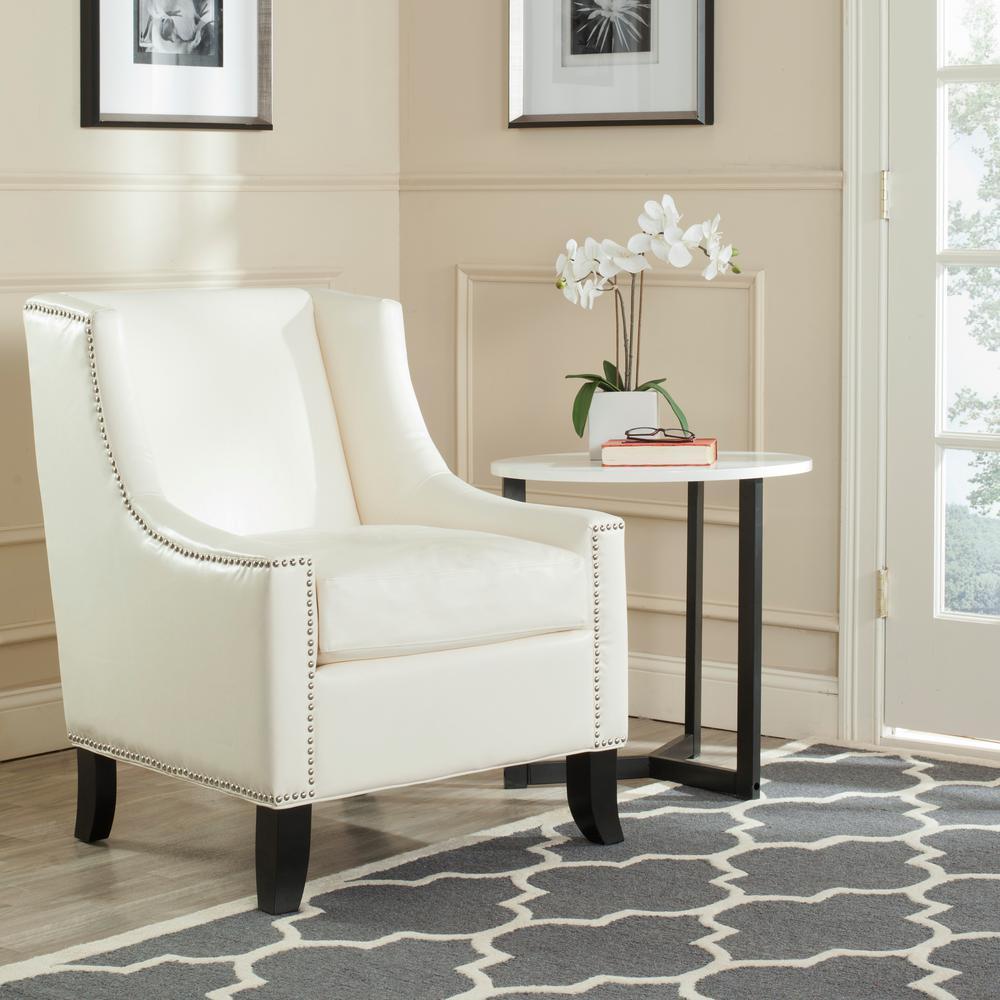 Safavieh Daniel Antique White/Black Leather Club Arm Chair ...