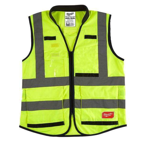 Premium 4X-Large/5X-Large Yellow Class 2-High Visibility Safety Vest with 15-Pockets