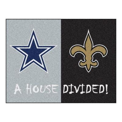 NFL Cowboys / Saints Gray House Divided 3 ft. x 4 ft. Area Rug