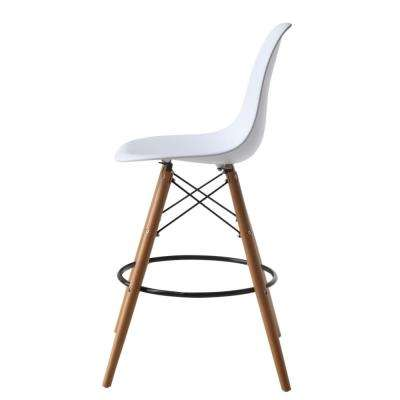 42 in. White Woodleg Counter Chair Round