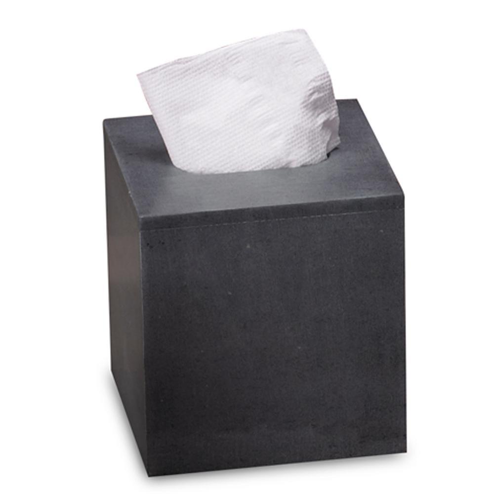 Natural Soapstone Tissue Box Cover in Gray Color