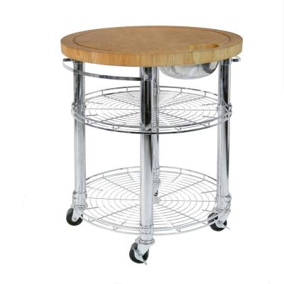 Solid-Bamboo Rolling Butcher Block Top Kitchen Island Cart in Silver Chrome with Storage