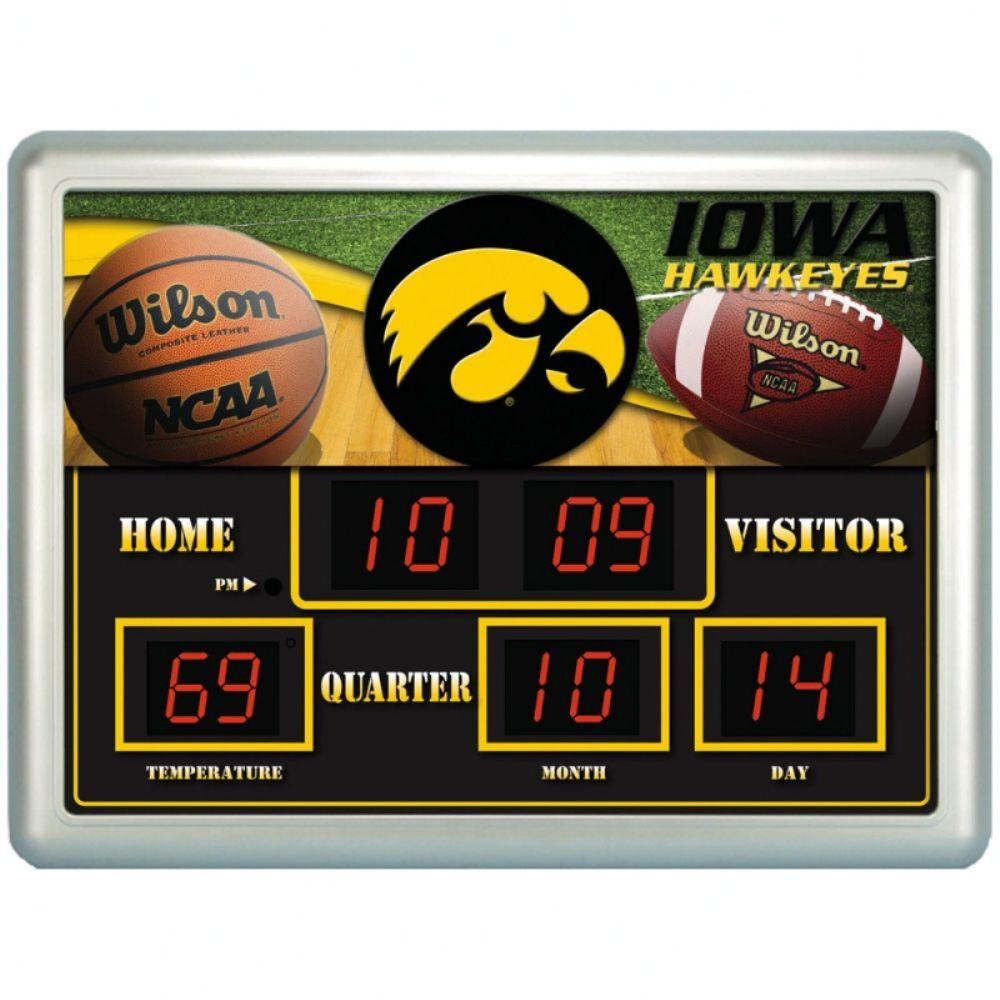 null University of Iowa 14 in. x 19 in. Scoreboard Clock with Temperature