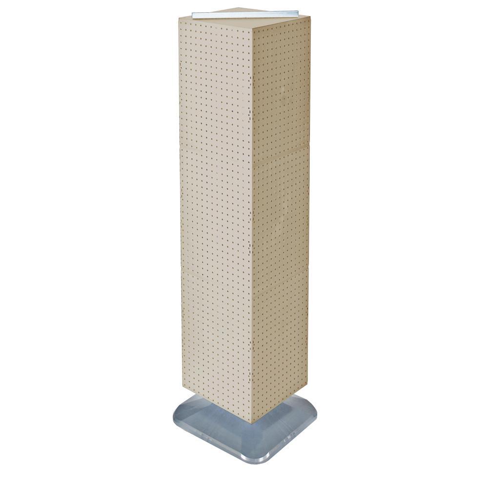 64 in. H x 14 in. W Styrene Pegboard Tower Floor Display on Revolving Base in Almond