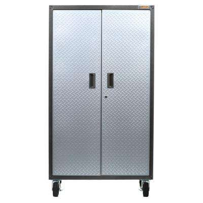 Ready to Assemble 66 in. H x 36 in. W x 18 in. D Steel Rolling Garage Cabinet in Silver Tread