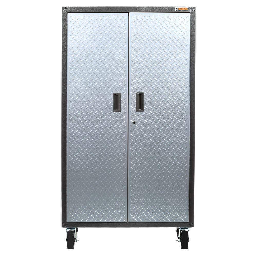 Ready to Assemble 66 in. H x 36 in. W x 18 in. D Steel Rolling Garage Cabinet in Silver Tread