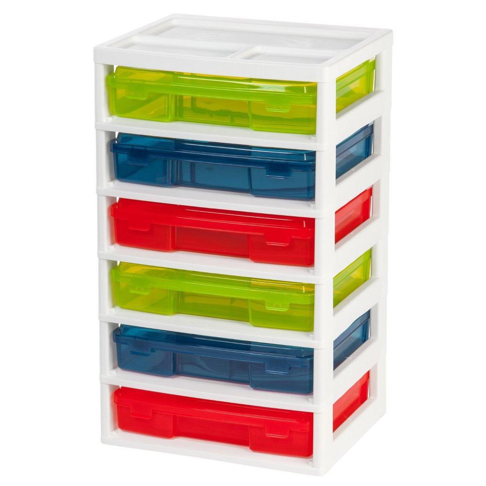 IRIS 67 Qt. 6-Case Activity Storage Bin in Assorted Colors