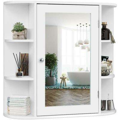 6.5 in. Width White Multi-Purpose Wall Mount Surface Bathroom Storage Cabinet Mirror