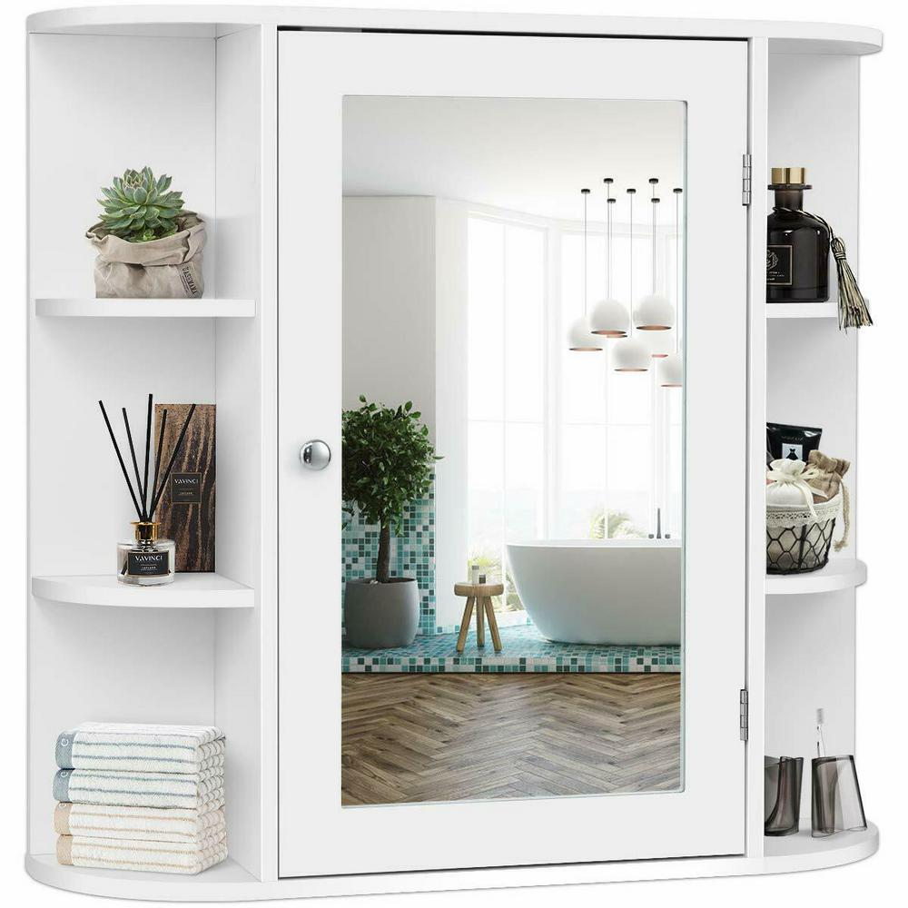 Costway 6.5 in. x 25 in. x 26 in. White Multipurpose Wall ...