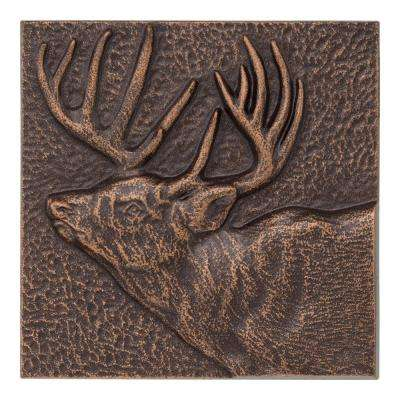 Buck 8 in. x 8 in. Indoor Outdoor Wall Decor in Antique Copper