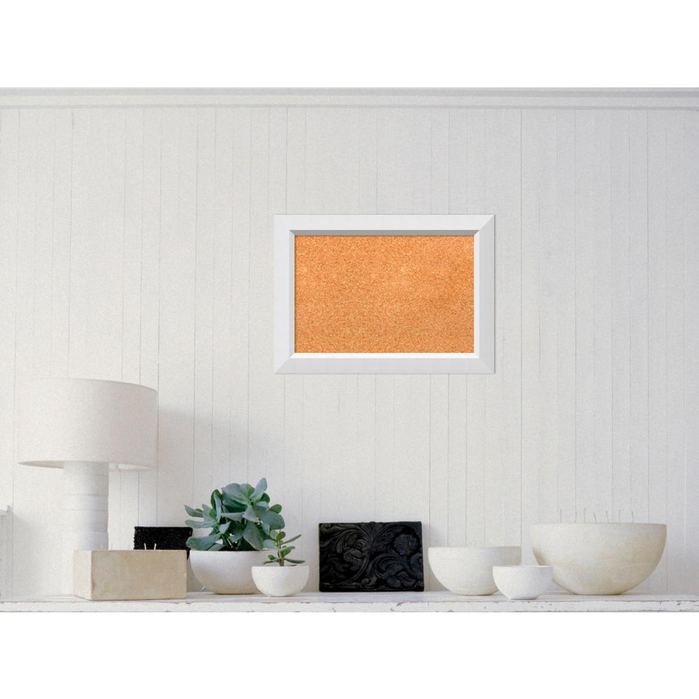Amanti Art Blanco White Wood 21 in. W x 15 in. H Framed Cork Board ...