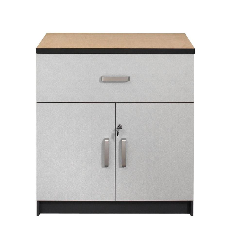 Talon Husky 1-Shelf/1-Drawer Laminate Base Cabinet with Worktop in Charcoal Stipple