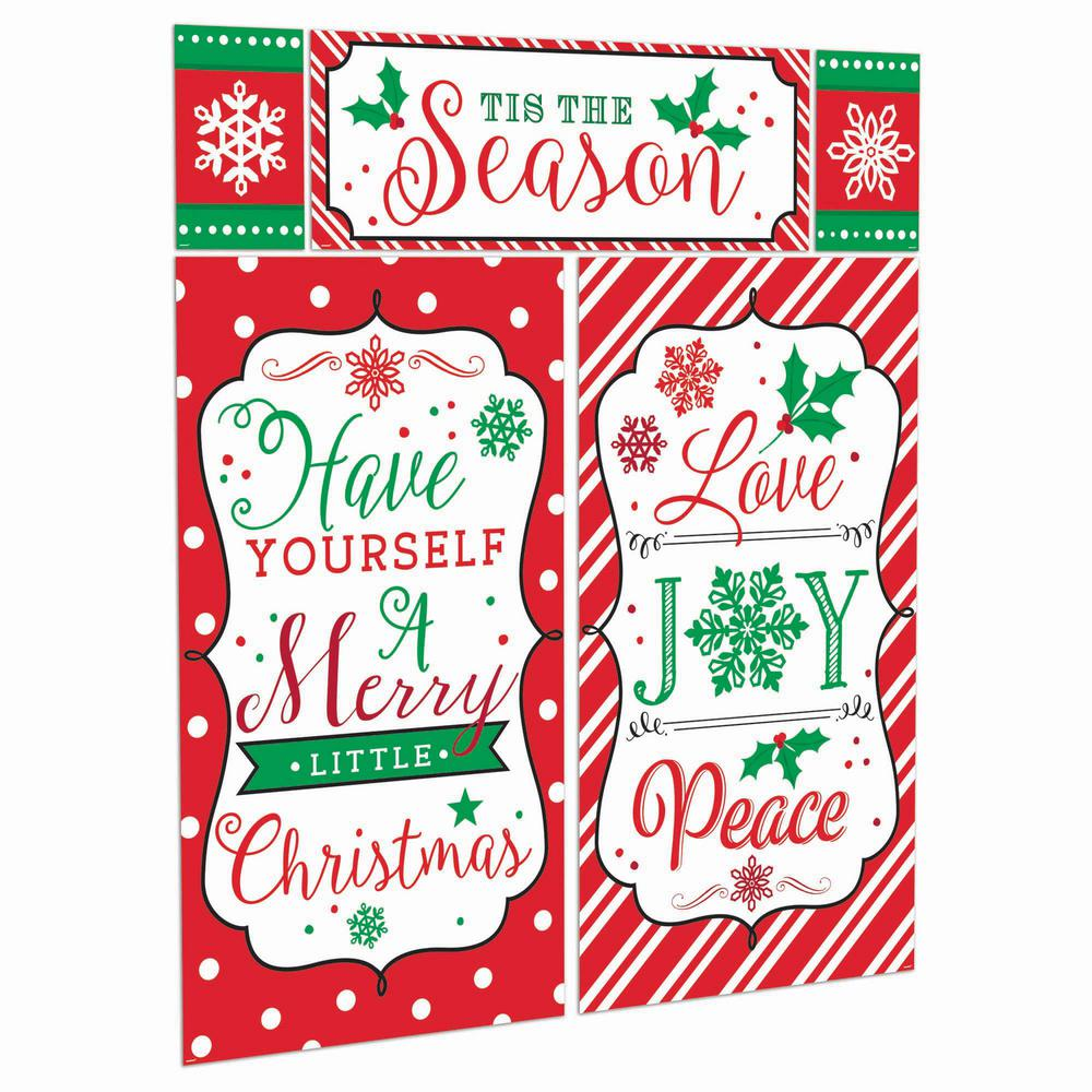 5-Pack Holiday Decor Deck The Halls Clear Window Cling CGSignLab 30x20