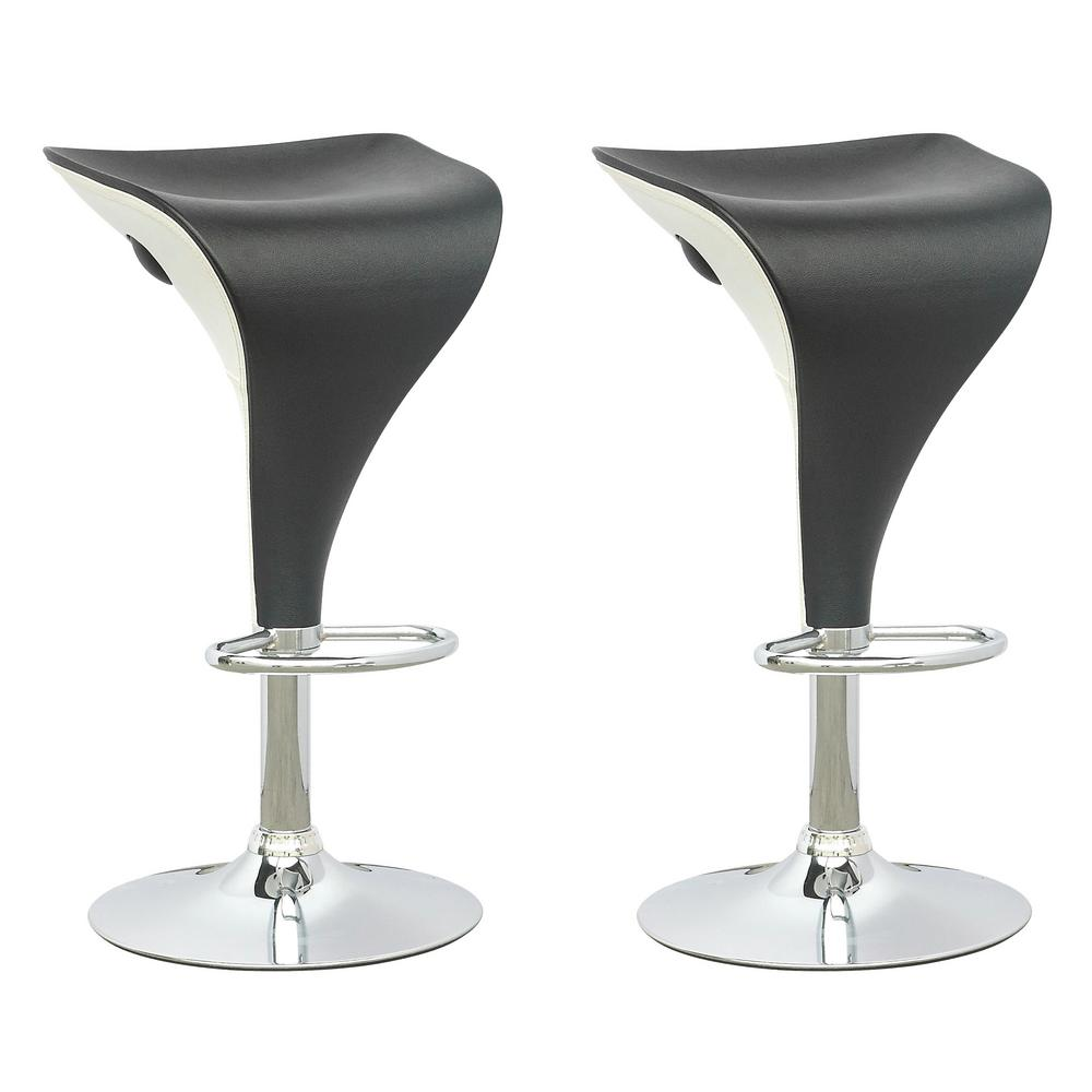 Corliving Adjustable Two Toned Swivel Bar Stool In Black