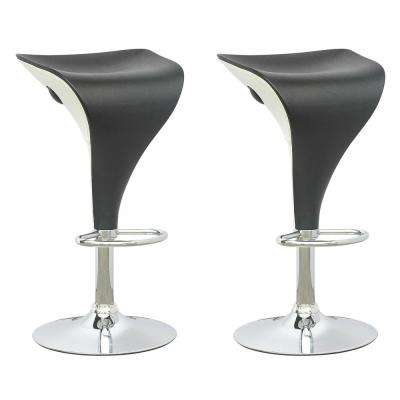 Adjustable Two Toned Swivel Bar Stool in Black and White (Set of 2)