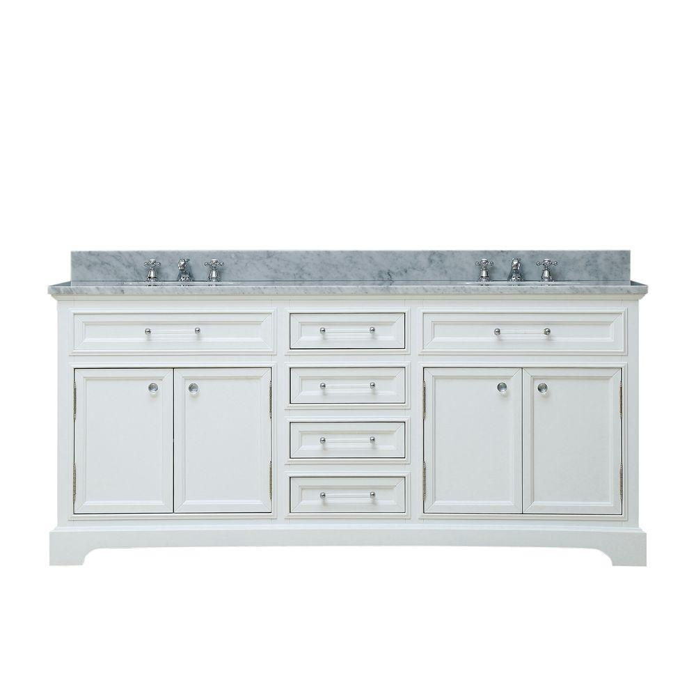 Water Creation 60 in. W x 22 in. D Bath Vanity in White with Marble Vanity Top in Carrara White and Chrome Faucet with White Basin