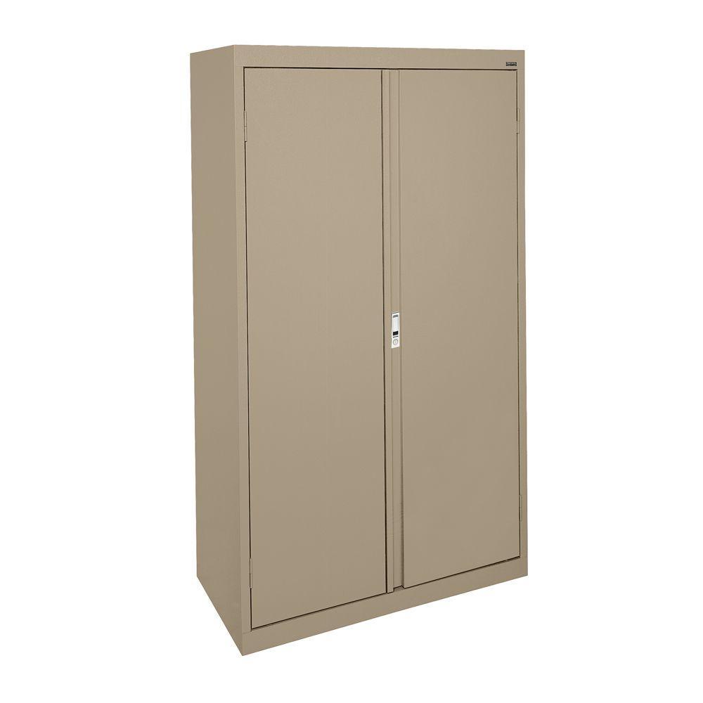 Sandusky System Series 30 in. W x 64 in. H x 18 in. D Tropic Sand Double Door Storage Cabinet with Adjustable Shelves