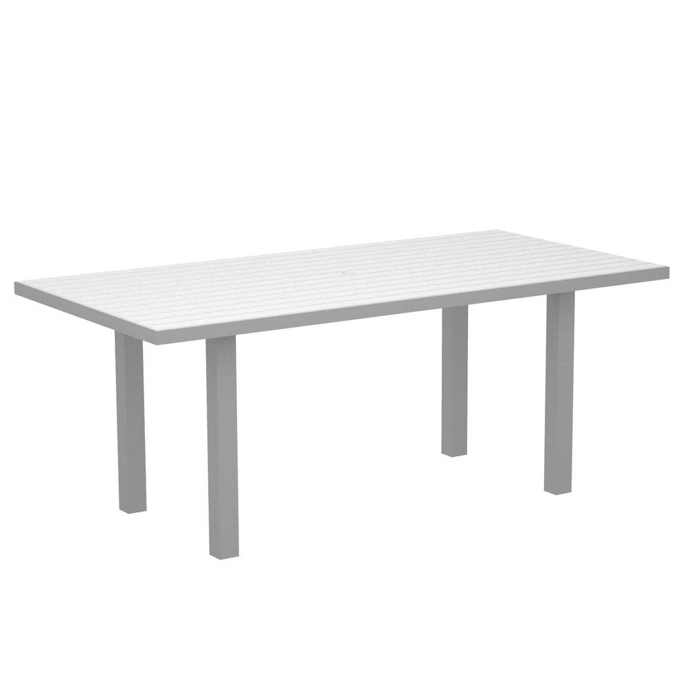 POLYWOOD Euro Textured Silver 36 in. x 72 in. Patio Dining Table with White Top