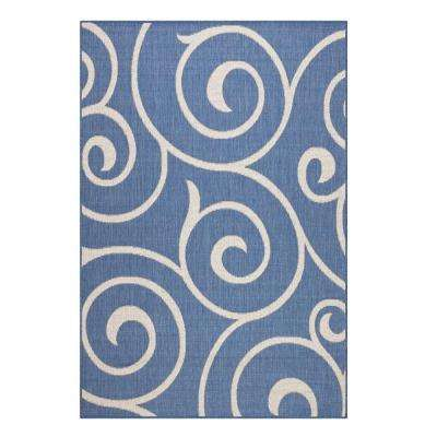 Whirl Blue/Champagne 9 ft. x 13 ft. Area Rug
