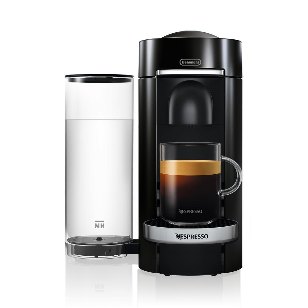 Nespresso DeLonghi Vertuo Plus Deluxe Black Single Serve Coffee and Espresso Machine with Aeroccino