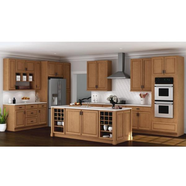 Hampton Bay Hampton Assembled 18x84x24 In Pantry Kitchen Cabinet In Medium Oak Kp1884 Mo The Home Depot