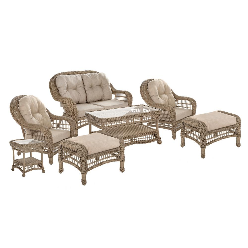 W Unlimited Saturn Collection 7-Piece Wicker Patio Conversation Set with Beige Cushions